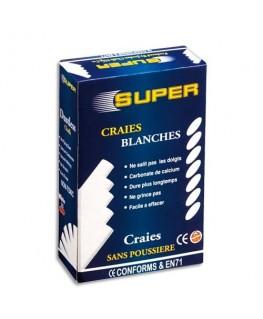 Boîte de 10 craies anti-poussières coloris blanc - JPC