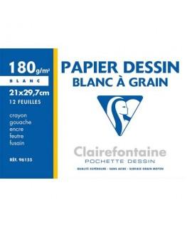 Pochette de 12 feuilles papier dessin blanc A4 180g - Clairefontaine