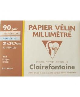 Pochette de 12 feuilles 90g papier millimétré - Clairefontaine