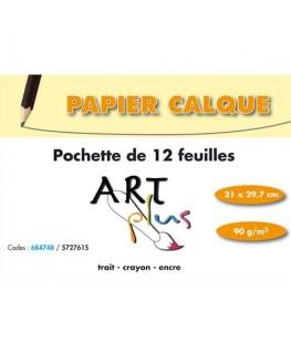 Pochette de 12 feuilles papier calque 90g A4 - Art Plus by Artline