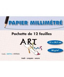 Pochette de 12 feuilles papier millimétré 90g A4 - Art Plus by Artline