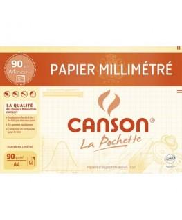 Pochette de 12 feuilles dessin millimétré bistre 72g A4 - Canson®