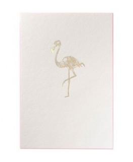 Carte de vœux GOLD Flamant rose
