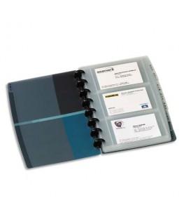Porte-cartes de visite Proline noir/bleu translucide amovible. 90 cartes en polypropylène rigide - Elba®