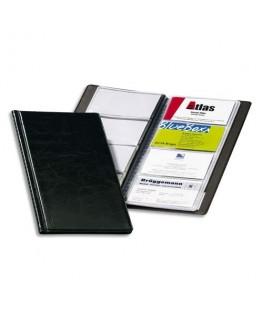 Porte-cartes de visite Visifix noir capacité 96 cartes aspect grain de cuir  - Durable