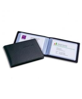 Porte-cartes aspect cuir noir mat avec 20 pochettes