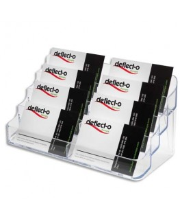 Porte-cartes de visite 2x4 compartiments - coloris transparent - Deflect-o®