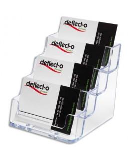 Porte-cartes de visite 1x4 compartiments transparent 9.6  x 9.5 x 11.3 cm - Deflect-o®