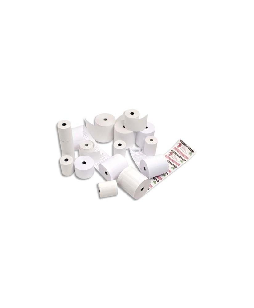 Bobine double enroulement pour caisses enregistreuses 76 x 70 x 12 mm 1er pli blanc et 2ème pli jaune