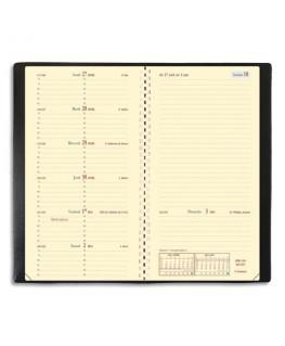 Semainier Italnote S spiralé 1S/1P et 1 page notes papier ivoire 8.8 x 17 cm noire - Quo Vadis