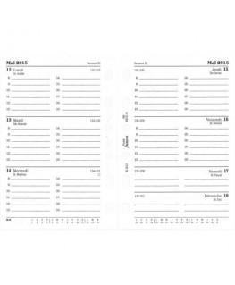 Recharge 8.1 x 12 cm Pocket 1 semaine sur 2 pages lignée à l'horizontal français + heures - filoFax®