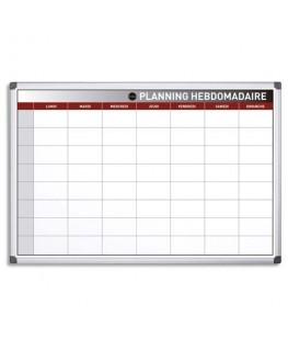 Planning hebdomadaire perpétuel magnétique 90 x 60 cm blanc/gris - Bi-Office