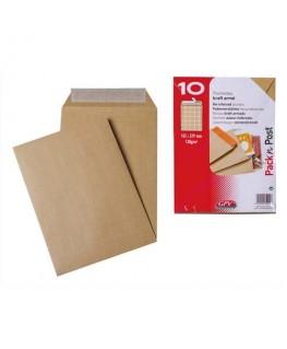 Boîte de 10 pochettes auto-adhésives kraft armé 130g