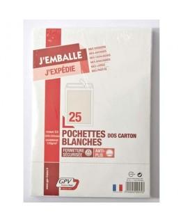 Boîte de 25 pochettes vélin blanc dos carton