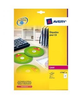Boîte de 50 étiquettes laser couleur pour CD et DVD L7760-25 - Avery®