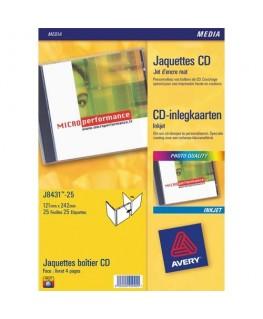 Boîte de 50 étiquettes jet d'encre monochrome pour CD et DVD J8676-25 - Avery®