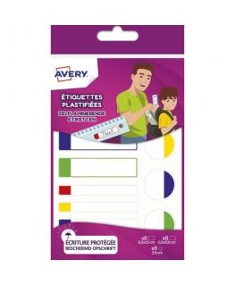 Sachet de 24 étiquettes plastifiées blanc avec bordure vert / bleu / jaune / rouge