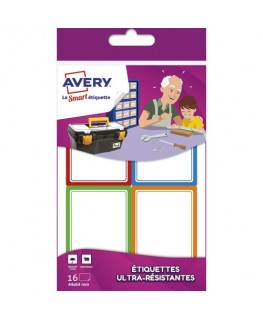Sachet de 16 étiquettes ultra-résistantes 44 x 64 mm blanc avec bordure vert / bleu / orange / rouge - Avery®