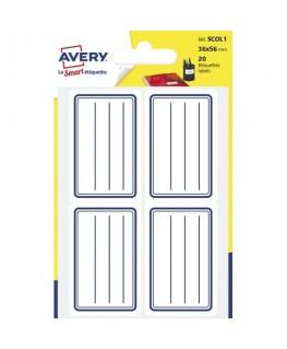 Sachet de 20 étiquettes scolaires lignées bleu 36 x 56 mm - Avery®