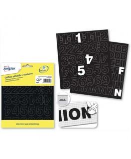 Pochette de 191 lettres adhésives noires 12.5 mm - Avery®