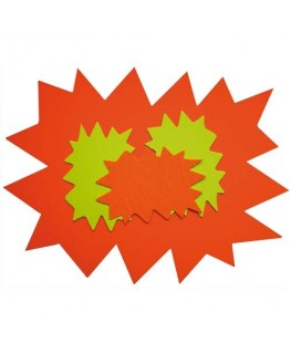 Paquet de 10 cartons fluo effaçable à sec jaune/orange forme éclaté 16 x 24 cm - Apli Agipa®