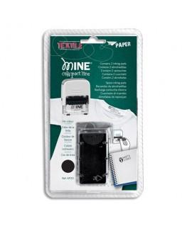 """Blister de 2 recharges noires spécial """"textile"""" E20 pour tampon Printer C/20 MINE - Colop®"""
