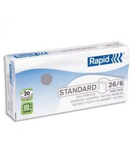 Boîte de 1000 agrafes Nº26/6 galvanisées Strong pour agrafeuse avec technologie FlatClinch - Rapid®