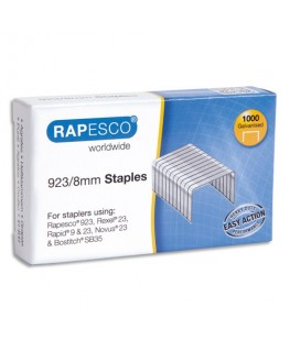 Boîte de 1000 agrafes galvanisées 923 8 mm en acier - Rapesco® by Rapid®