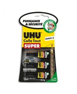Boîte antichoc de 3 mini-tubes de colle Strong and Safe de 1g chacun - UHU®