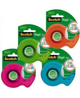 Dévidoir Cool Colors rechargeable livré avec un ruban adhésif Magic Tape 19 mm x 19 m - Scotch®