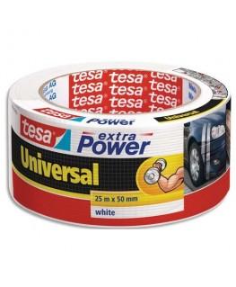 Rouleau de toile adhésive renforcée 25 m x 50 mm coloris blanc - Tesa®