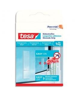 Boîte de 8 languettes adhésives Powerstripes pour surfaces transparentes ou vitrées - Tesa®