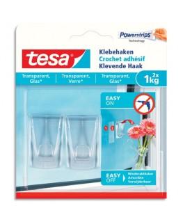 Boîte de 2 crochets adhésifs Powerstripes pour surfaces transparentes ou vitrées - Tesa®