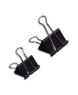 Boîte de 12 pinces double clip largeur 19 mm capacité 6 mm - Wonday®