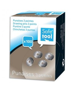 Boîte de 100 punaises 3 pointes acier nickelé - Safetool®