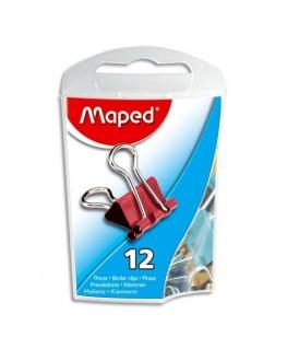 Boîte de 12 pinces clip largeur 15 mm coloris assortis - Maped®