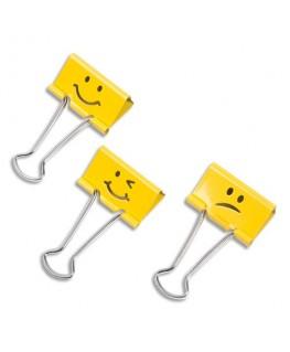 Lot de 20 pinces à double clips Emojis assortis Jaune Supaclip en métal - Rapesco® by Rapid®