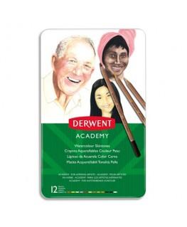 Boîte de 12 crayons de couleur aquarellables tons peaux assortis - Derwent Academy