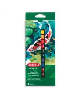 Set de 12 tubes 12 ml de peinture acrylique assortie - Derwent Academy