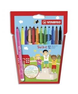 Pochette de 12 feutres de coloriage TRIO AZ. Zone de préhension