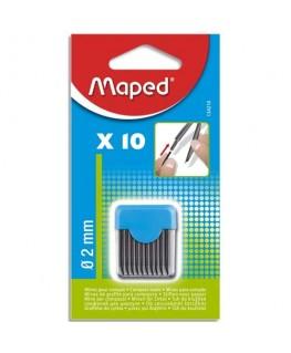 Blister étui de 10 mines de rechange pour compas pointe 2 mm - Maped®