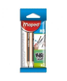 Sachet brochable de 3 mini crayons graphites HB Black'Peps - Maped®