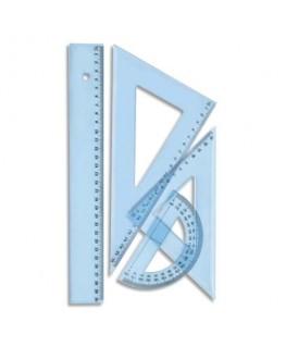 Kit de traçage 4 pièces en plastique incassable, 1 règle 30 cm, 1 rapporteur, 2 équerres Schoolday - Wonday®