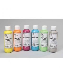 Lot de 6 x 250 ml gouache acrylique coloris assortis - Art Plus