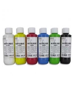 Coffret de 6 x 250 ml acrylique brillante blanc