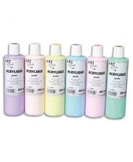 Coffret de 6 x 250 ml acrylique pastel assorties - Art Plus