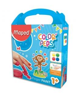 Lot de 4 pots de 80g de peinture au doigt Color'Peps Early Age - Maped®