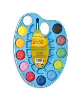 Palette ovale de 12 pastilles de couleur + 1 pinceau - JPC