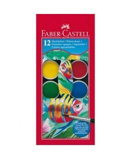 Boîte plastique de 12 pastilles de peinture gouaches + 1 pinceau - Faber-Castell
