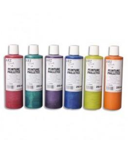 Boîte de 6 x 250 ml de gouache pailletée couleurs assorties - Art Plus